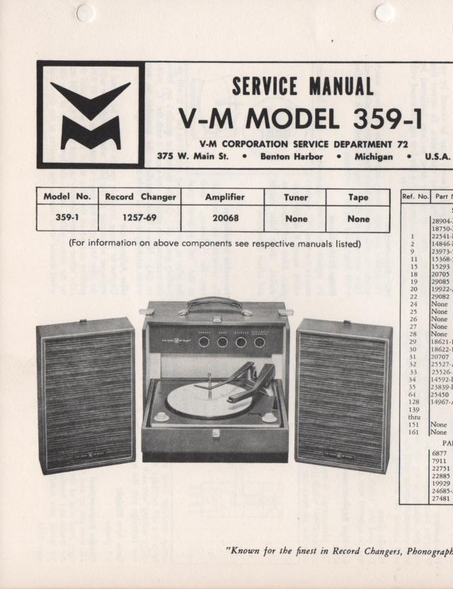 359-1 Portable Phonograph Service Manual Comes with 1257 and 20068 manuals