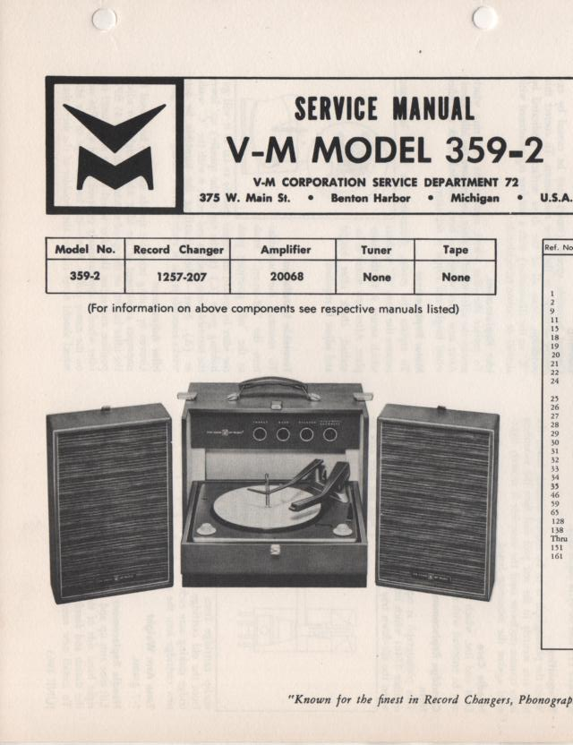 359-2 Portable Phonograph Service Manual Comes with 1257 and 20068 manuals