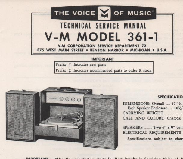 361-1 Phonograph Service Manual  VOICE OF MUSIC