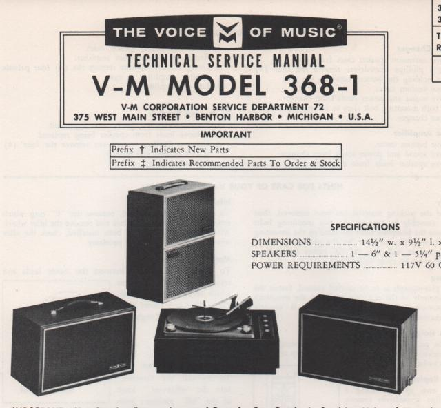 368-1 Phonograph Service Manual  VOICE OF MUSIC