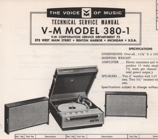 380-1 Phonograph Service Manual  VOICE OF MUSIC