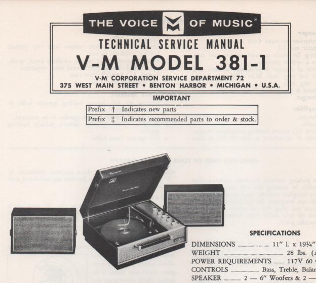 381-1 Phonograph Service Manual  VOICE OF MUSIC