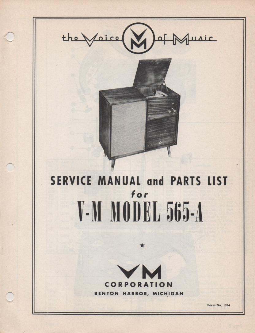 565-A Console Phonograph Service Manual