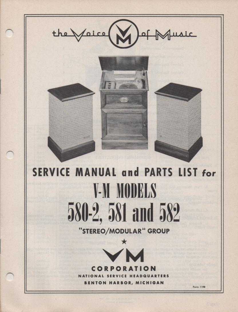 580-2 581 582 Console Phonograph Service Manual