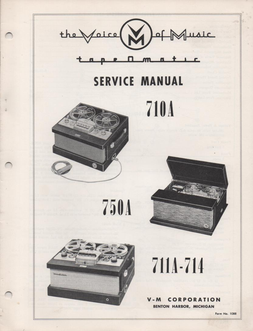 710A 711A 714 750A Reel to Reel Service Manual  VOICE OF MUSIC