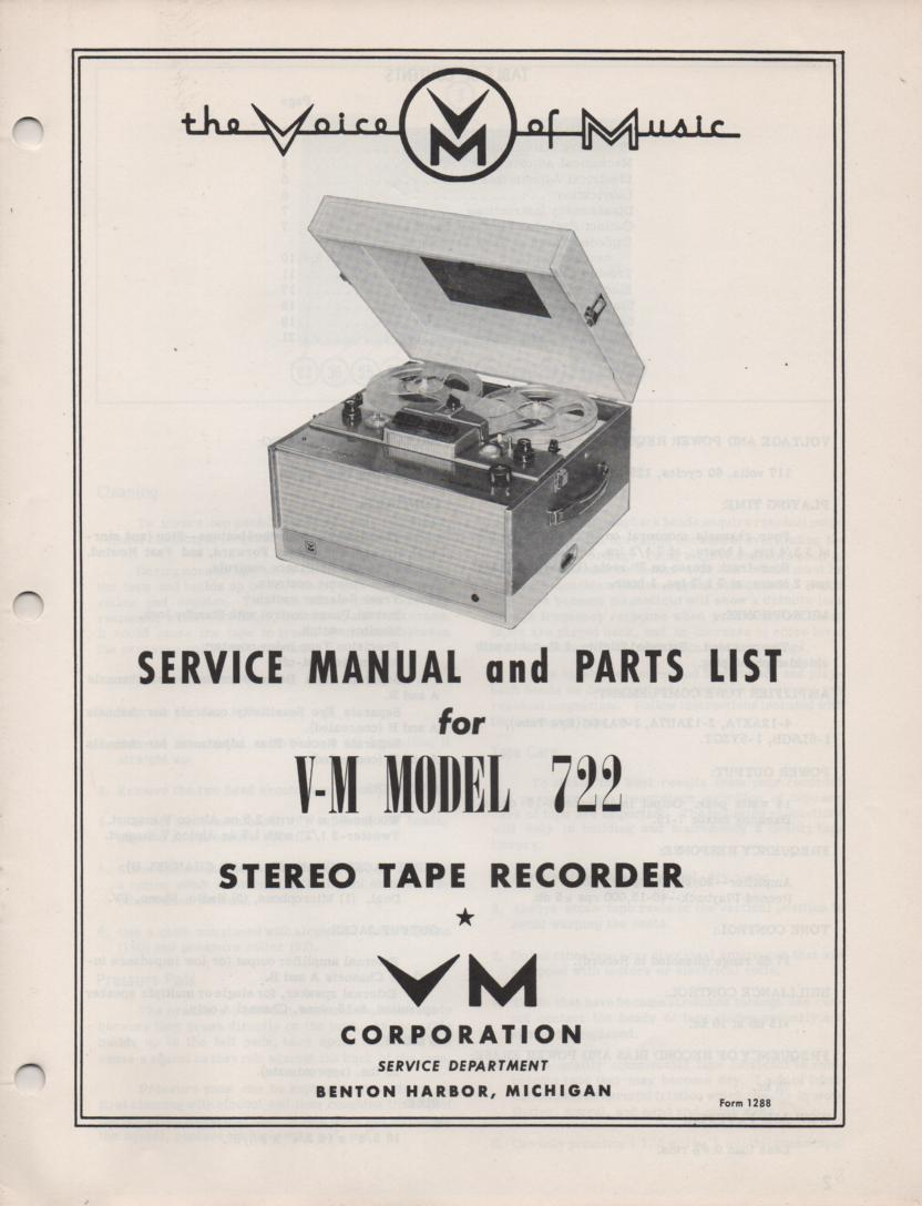 722 Reel to Reel Service Manual  VOICE OF MUSIC