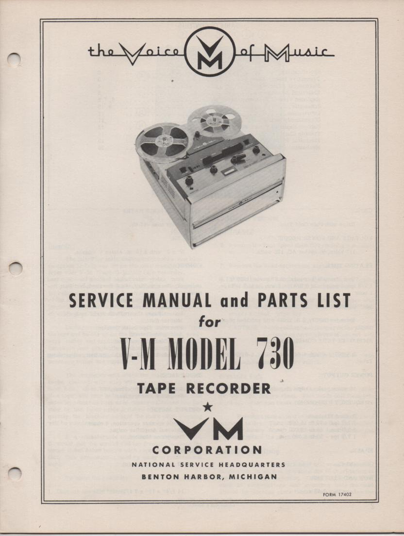 730 Reel to Reel Service Manual  VOICE OF MUSIC