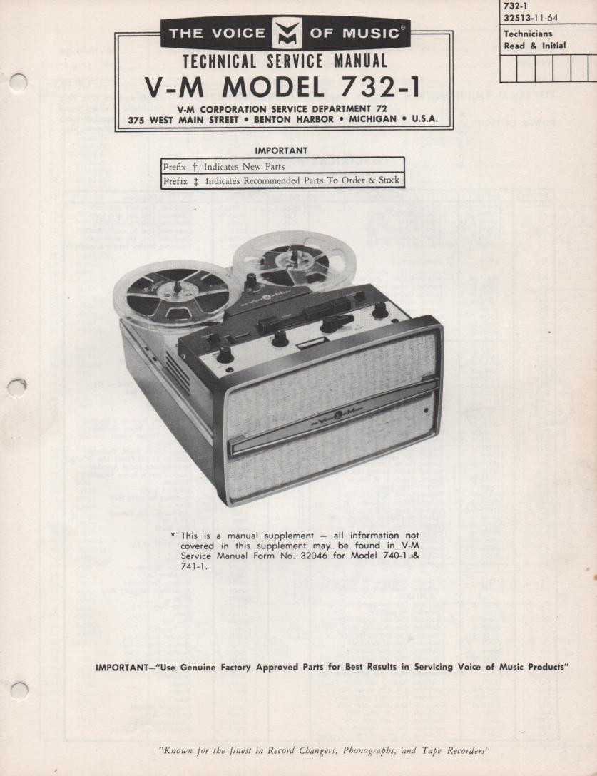 732-1 Reel to Reel Service Manual  VOICE OF MUSIC