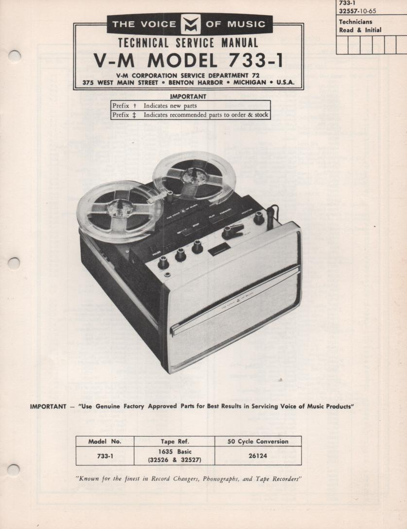 733-1 Reel to Reel Service Manual.   comes with 1635 manual...