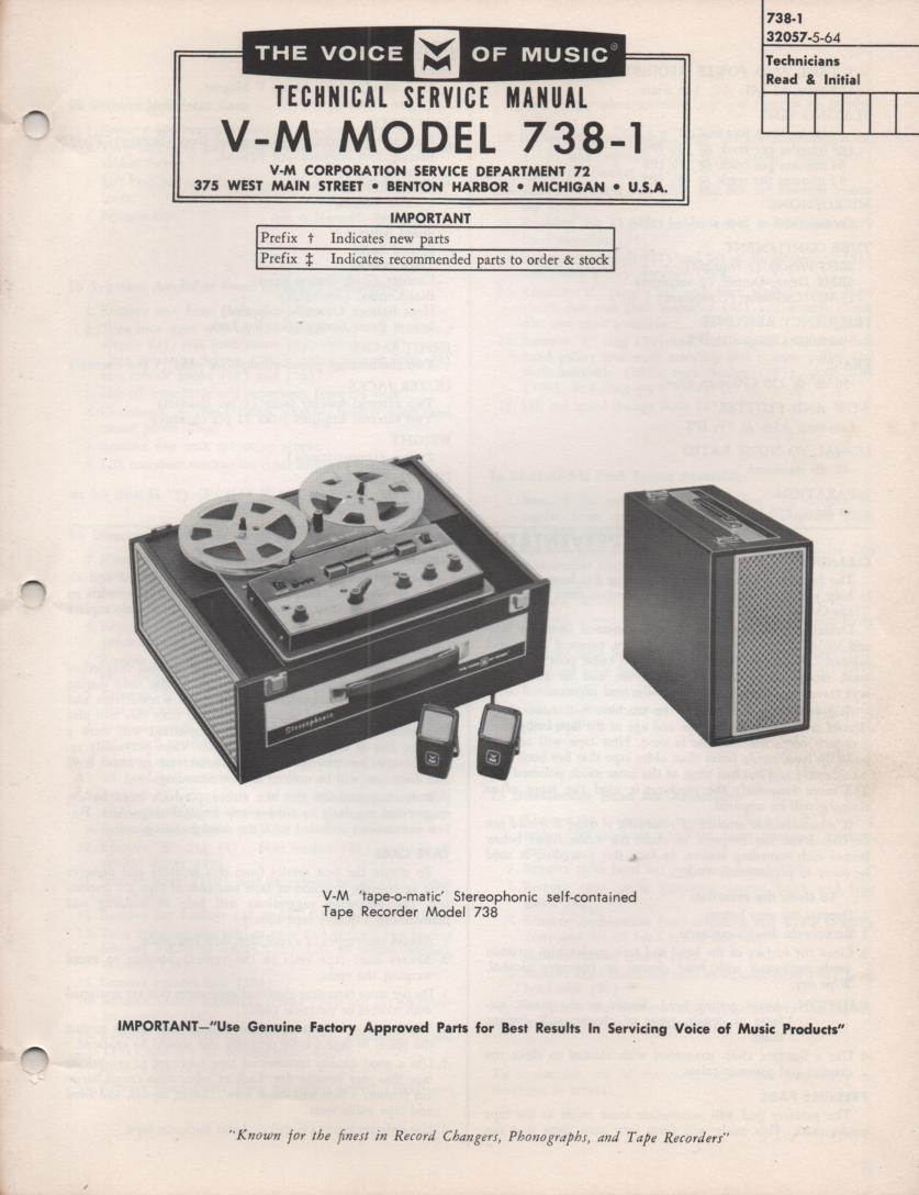 738-1 Reel to Reel Service Manual  VOICE OF MUSIC
