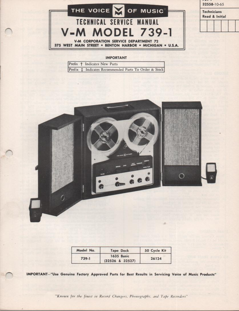 739-1 Reel to Reel Service Manual.  comes with 1635 basic transport manual.