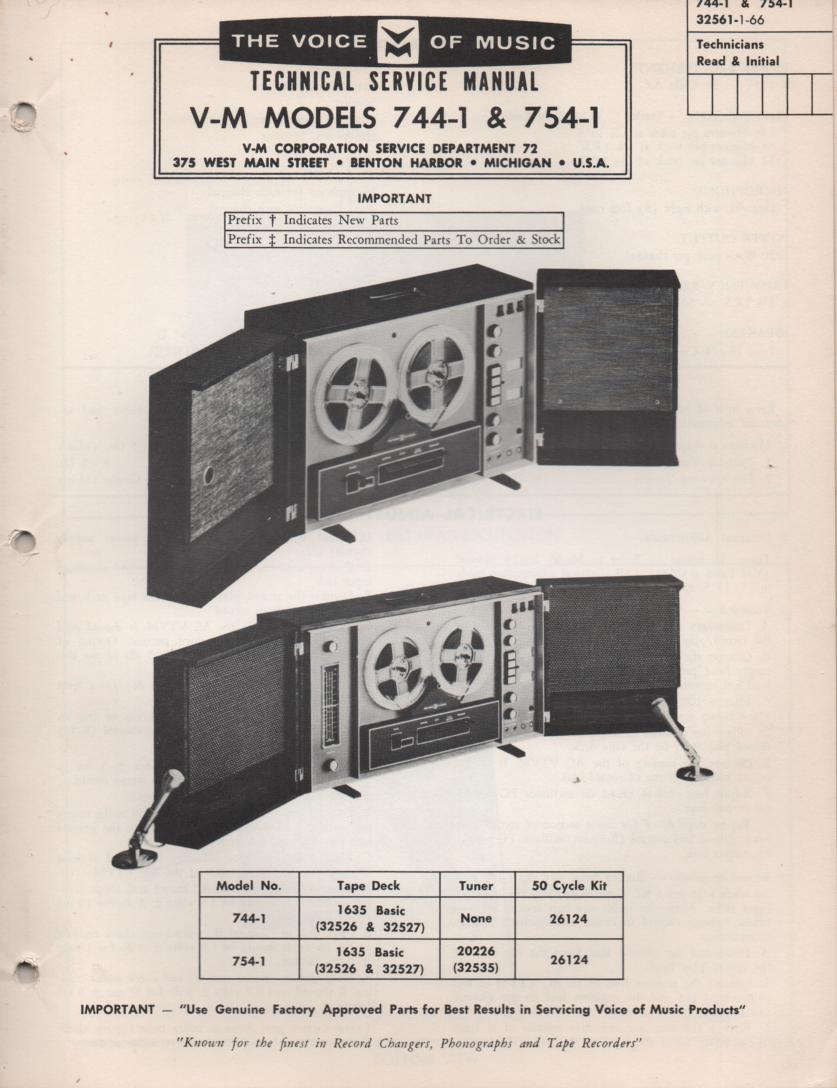 754-1 Reel to Reel Service Manual  VOICE OF MUSIC