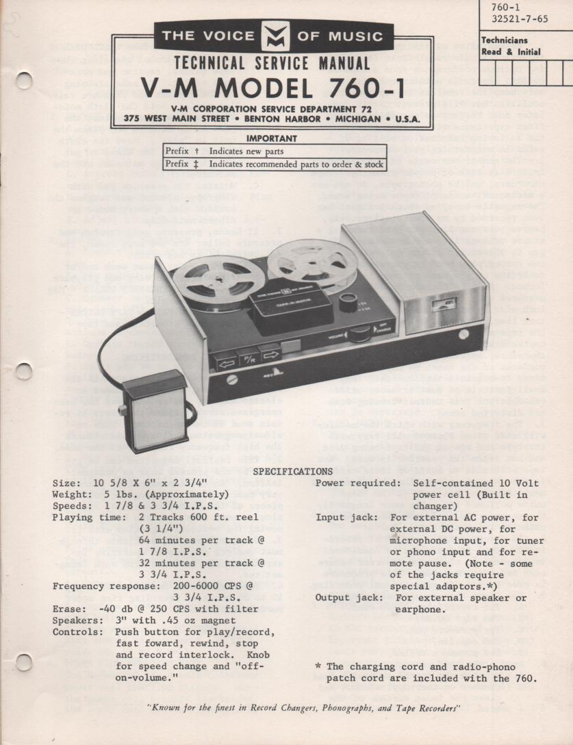 760-1 Reel to Reel Service Manual  VOICE OF MUSIC