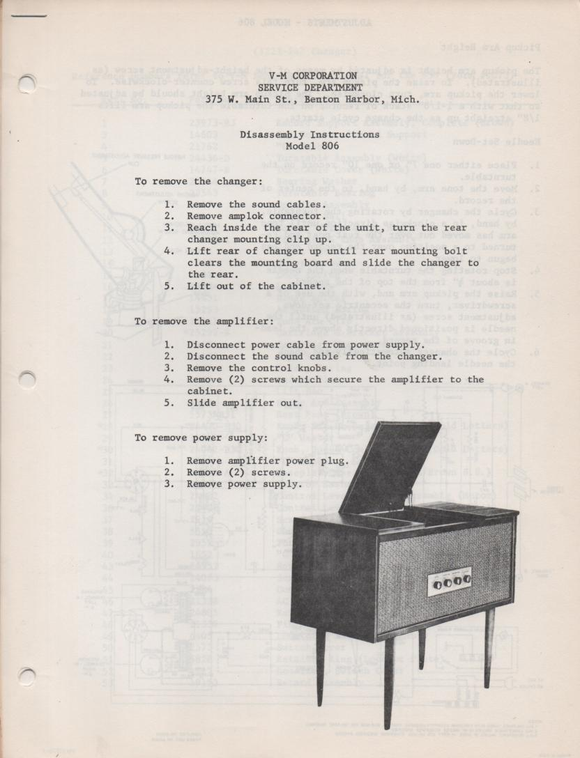 806 Console Service Manual. Comes with 959  record changer manual.