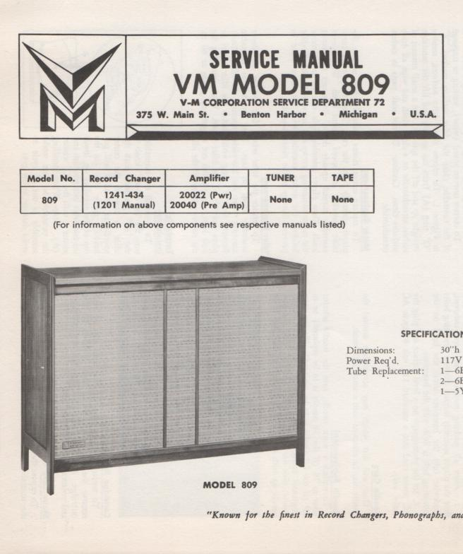 809 Console Service Manual...