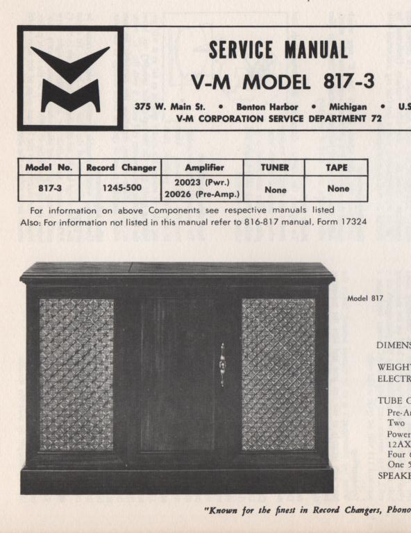 817-3 Console Service Manual Comes with 20026 pre-amp manual. no power or changer manual