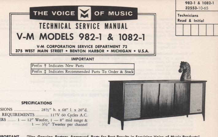 982-1 Console Service Manual. Comes with 1297 changer manual and 20228 amplifier tuner manual...