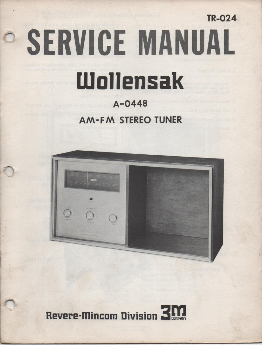 A-0448 AM FM Tuner Service Manual  WOLLENSAK