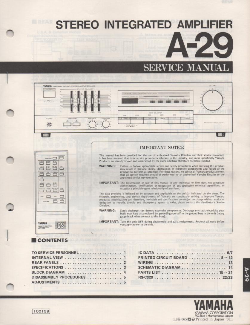 Yamaha A 29 Amplifier Service Manual