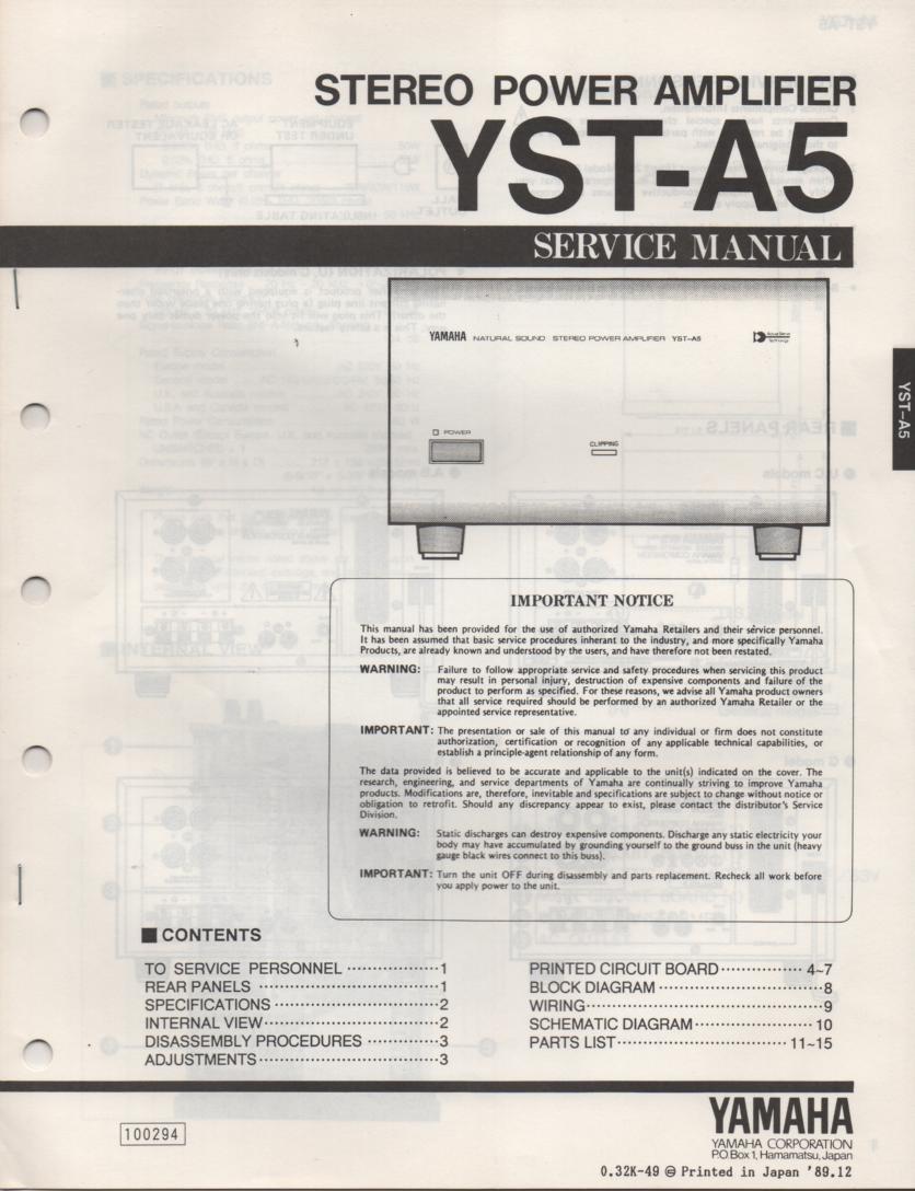 YAMAHA A-29 Amplifier Service Manual