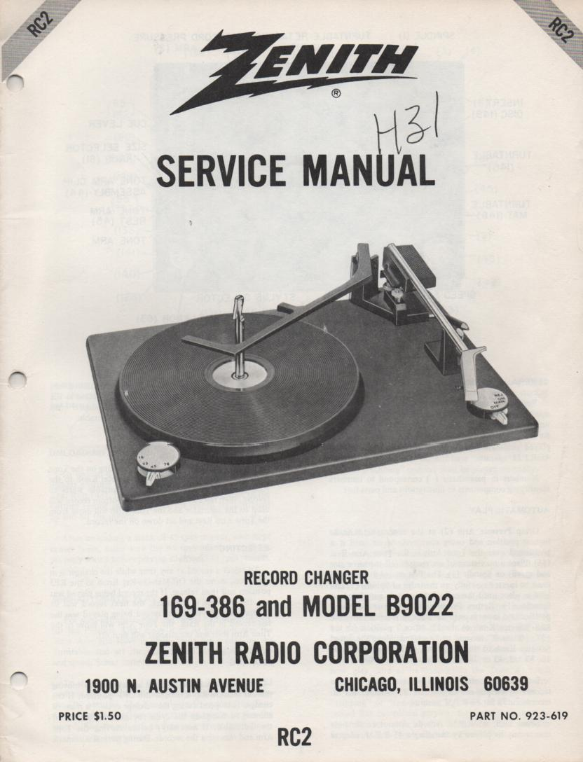 169-386 B9022 Turntable Service Manual RC-2  Zenith