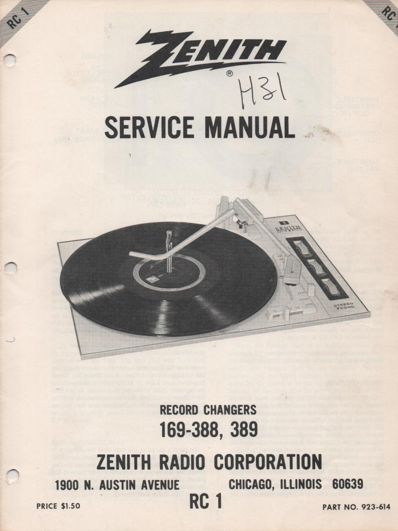 169-388 169-389 Turntable Service Manual RC-1  Zenith