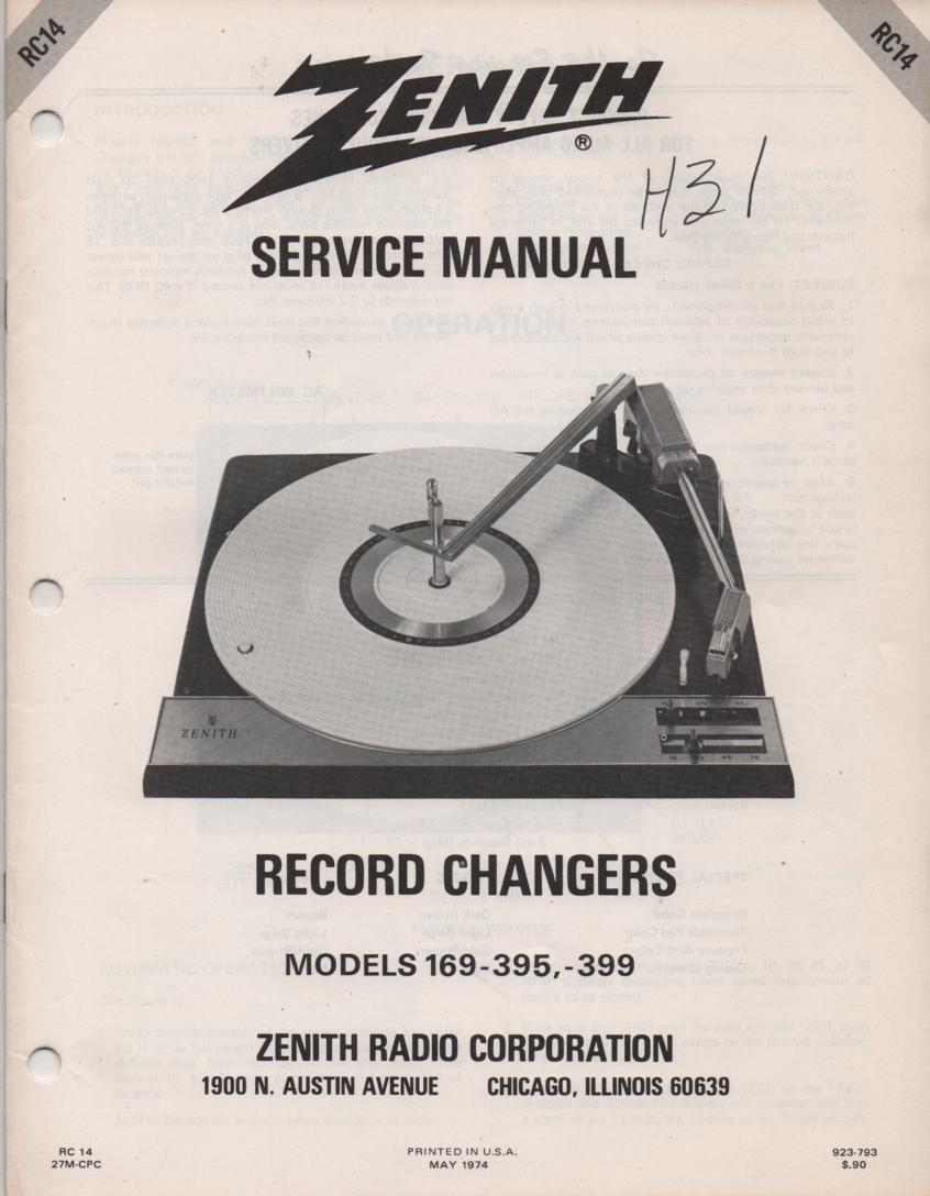 169-395 169-399 Turntable Service Manual RC-14  Zenith