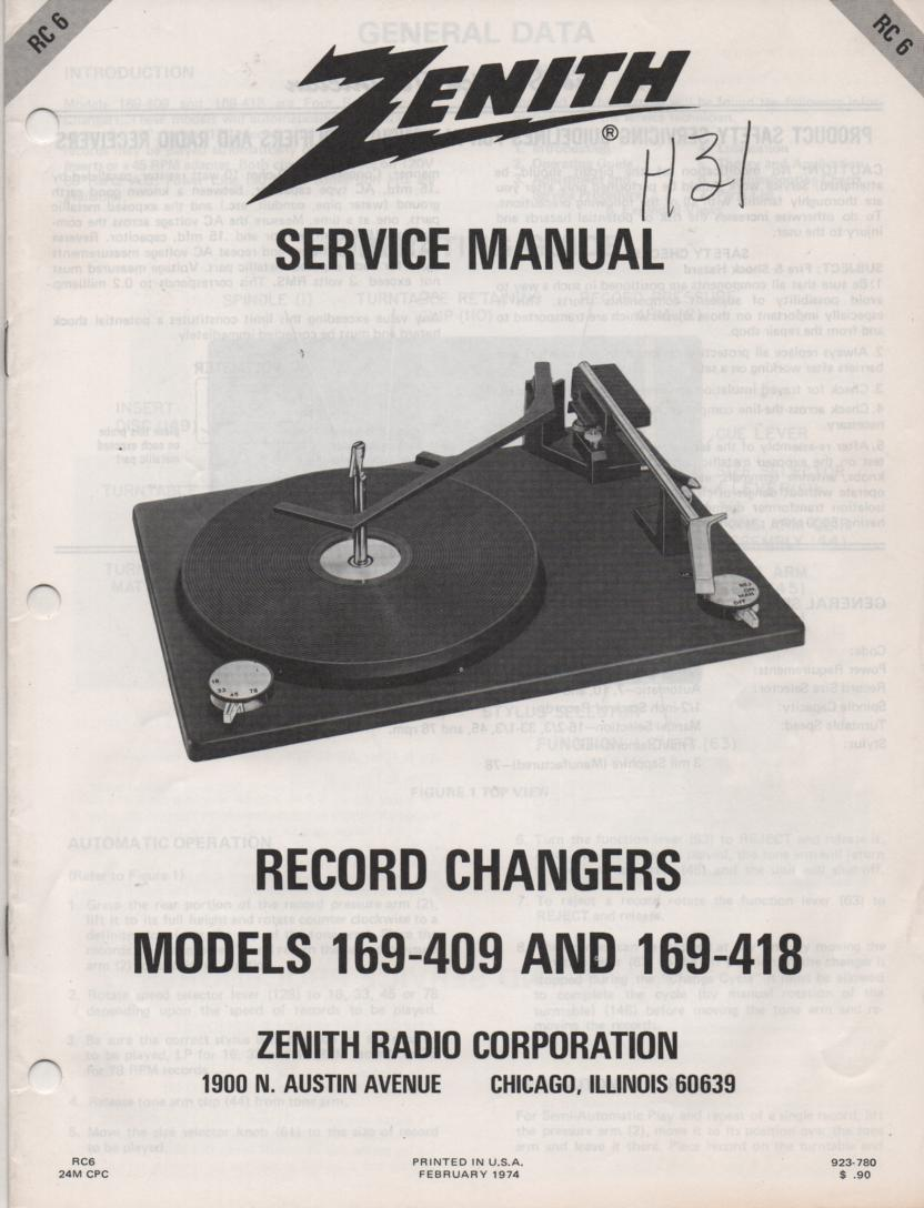 169-409 169-418 Turntable Service Manual RC-6  Zenith