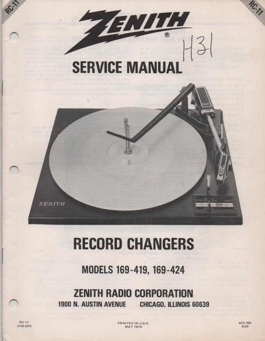 169-419 169-424 Turntable Service Manual RC-11  Zenith