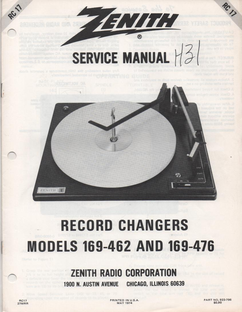 169-462 Turntable Service Manual RC-17  Zenith
