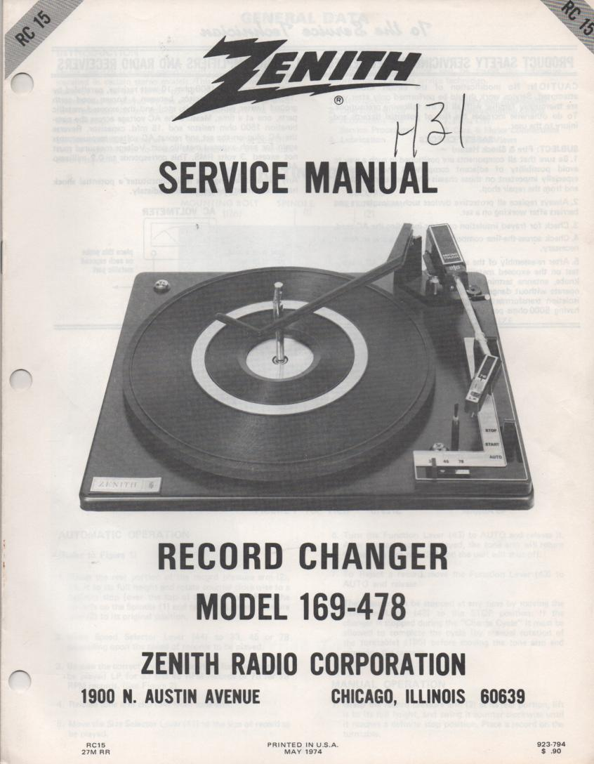 169-478 Turntable Service Manual RC-15  Zenith