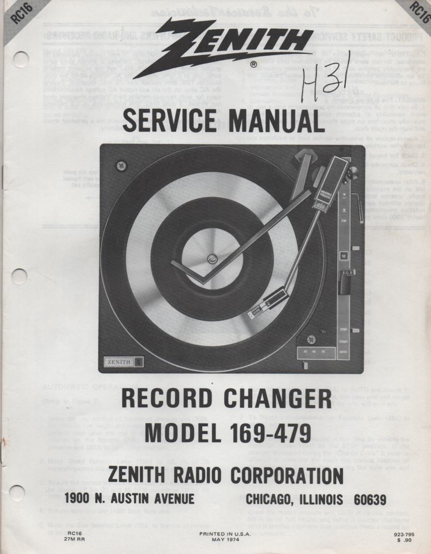 169-479 Turntable Service Manual RC-16  Zenith