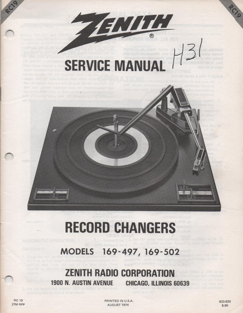169-502 Turntable Service Manual RC-19  Zenith