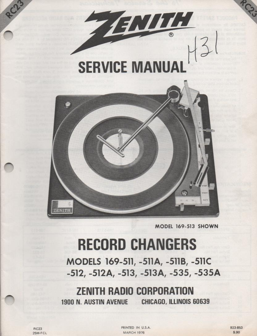 169-513 Turntable Service Manual RC-23  Zenith