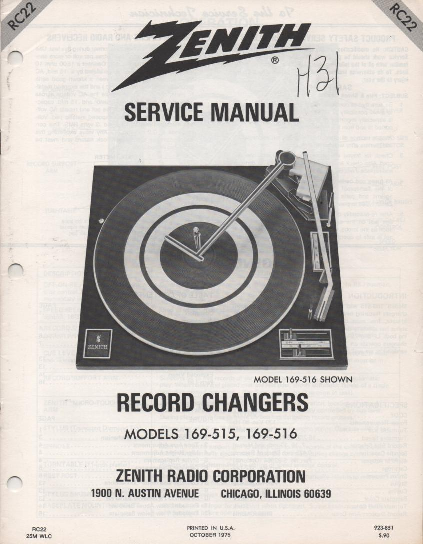 169-516 Turntable Service Manual RC-22  Zenith