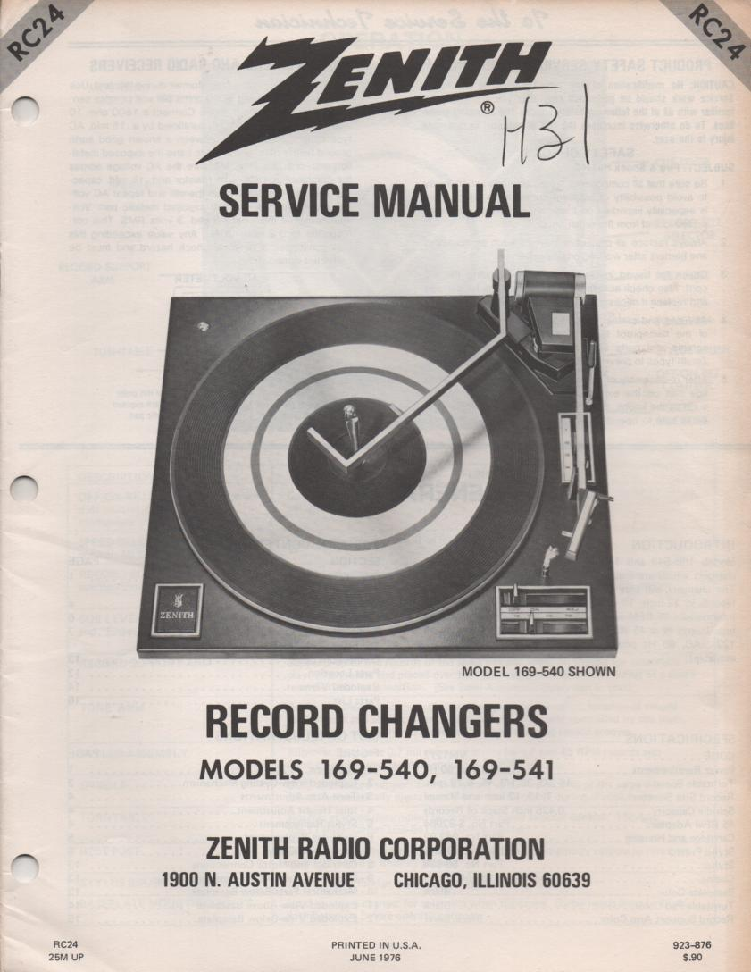 169-540 Turntable Service Manual RC-24  Zenith