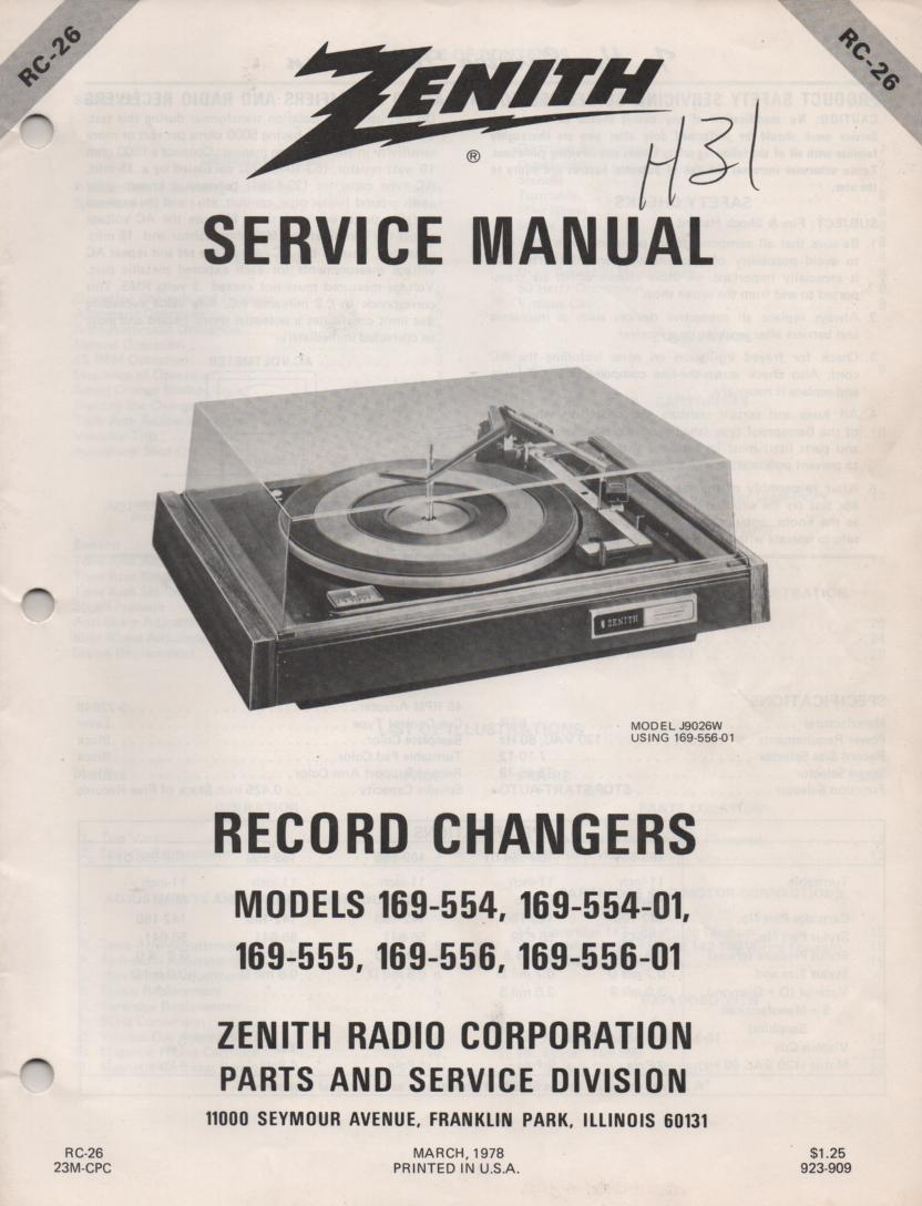 169-556 Turntable Service Manual RC-26  Zenith