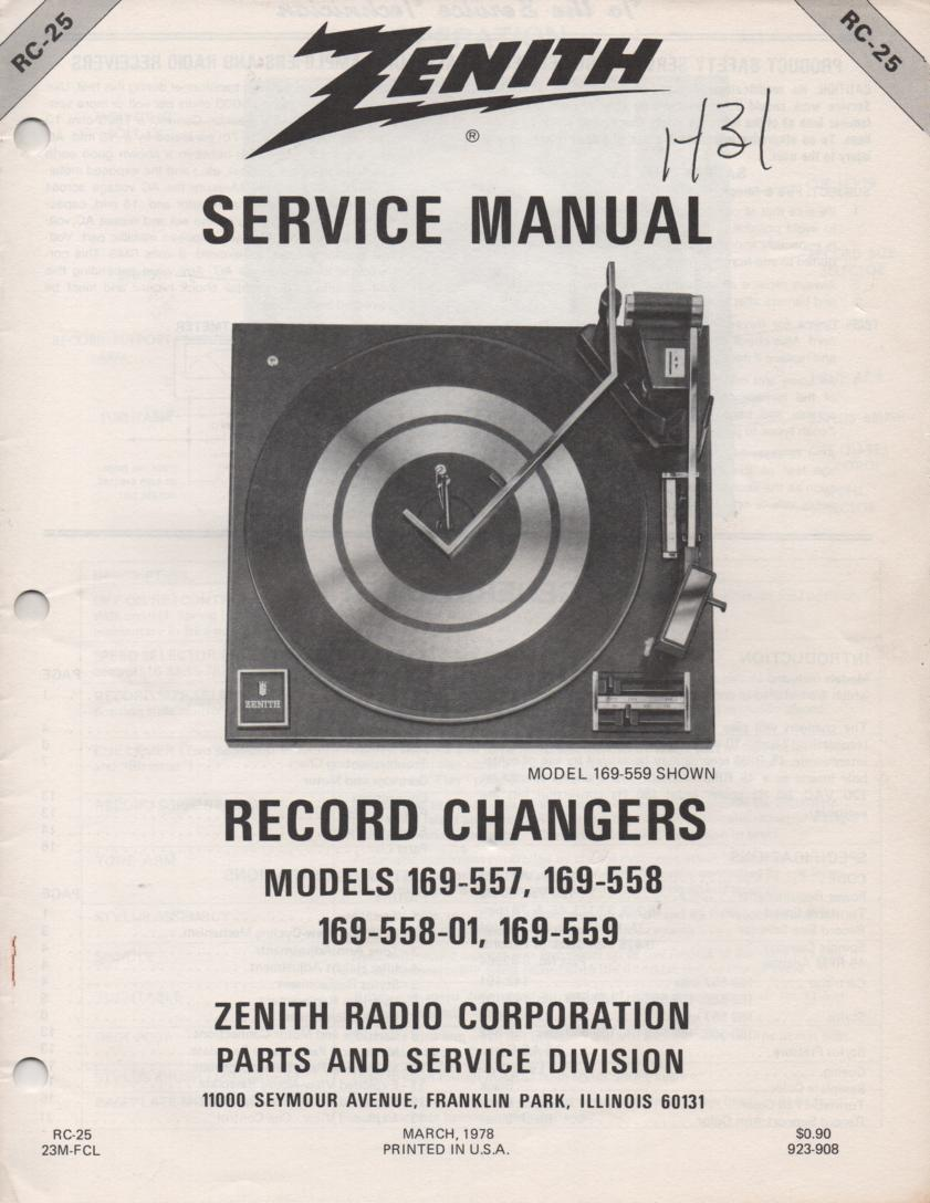 169-559 Turntable Service Manual RC-25  Zenith