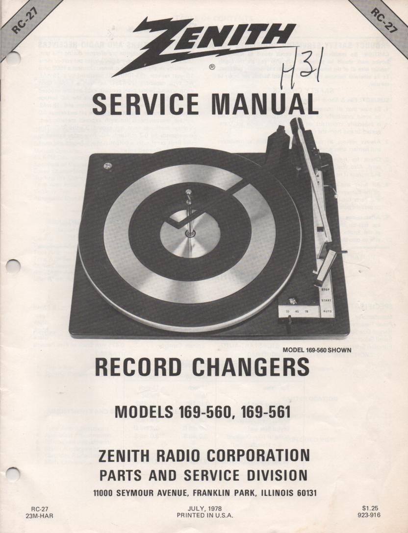 169-561 Turntable Service Manual RC-27  Zenith