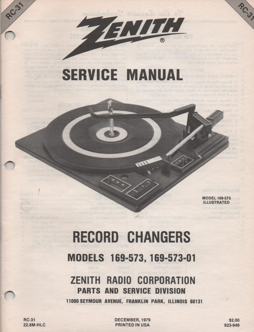 169-573 169-573-01 Turntable Service Manual RC-31  Zenith