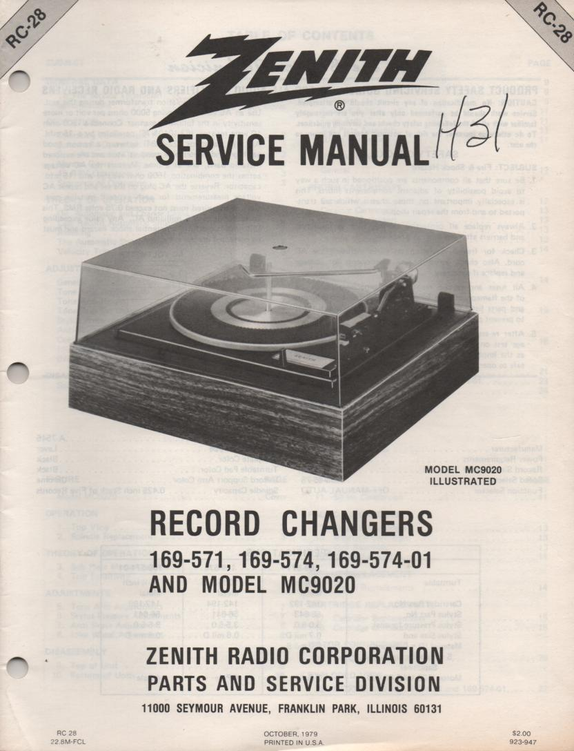 169-574 169-574-01 MC9020 Turntable Service Manual RC-28  Zenith