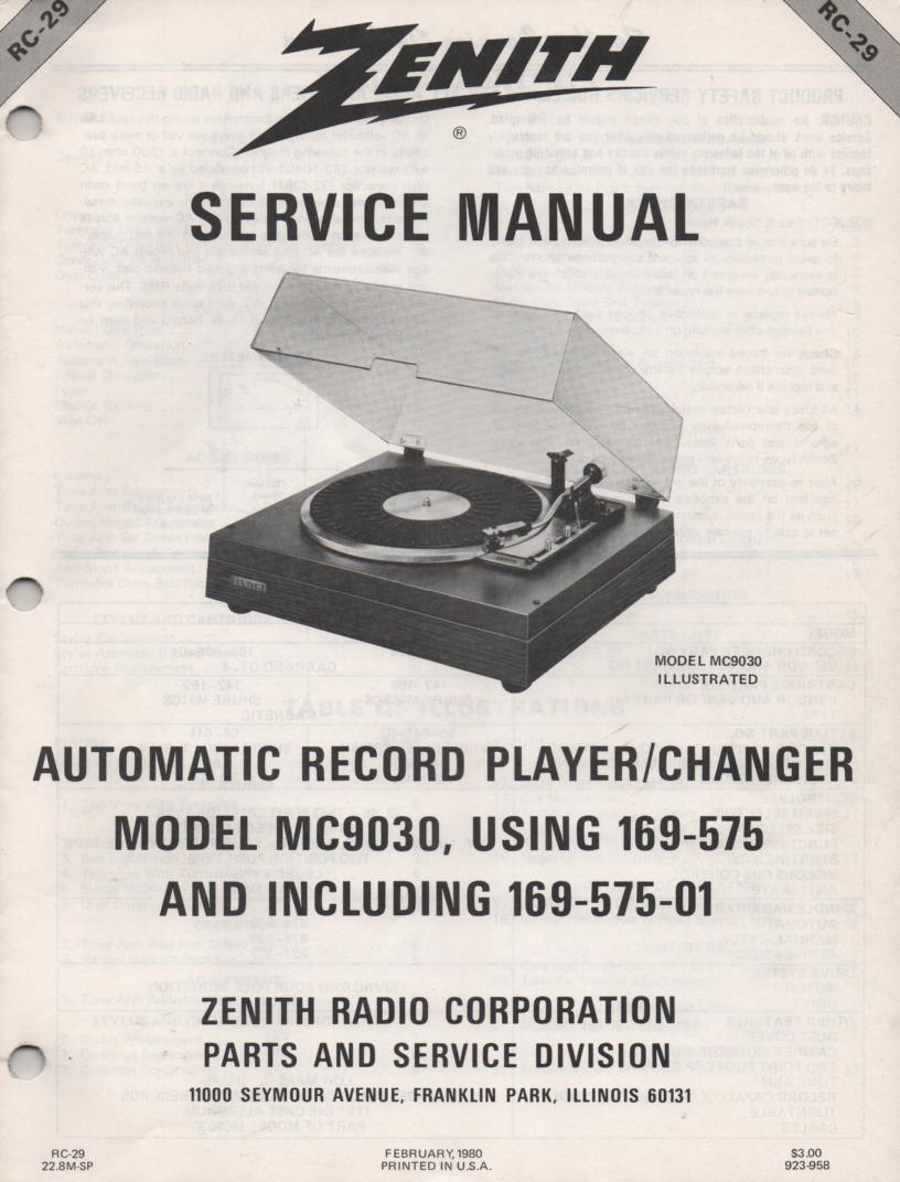 169-575 Turntable Service Manual RC-29  Zenith