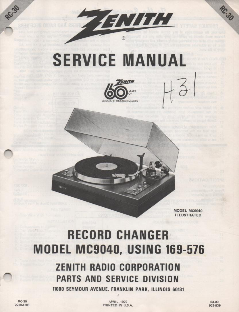 169-576 MC9040 Turntable Service Manual RC-30  Zenith