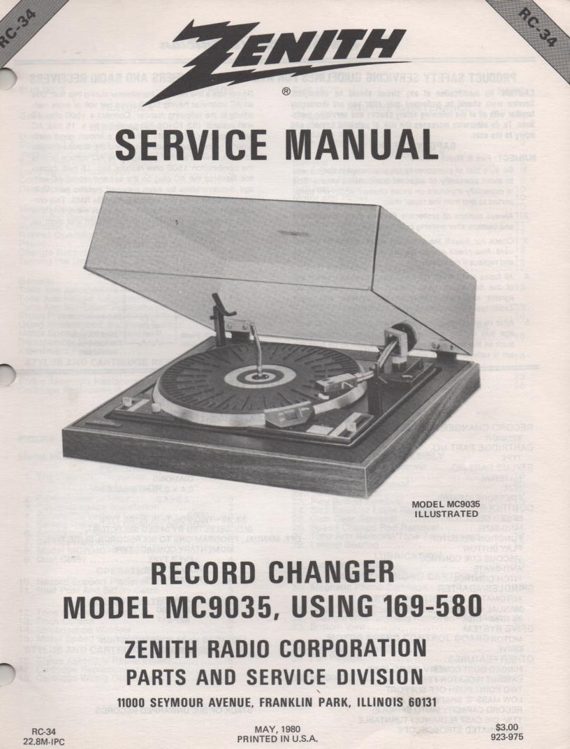 169-580 MC9035 Turntable Service Manual RC-34  Zenith