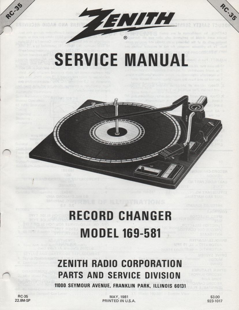 169-581 Turntable Service Manual RC-35  Zenith