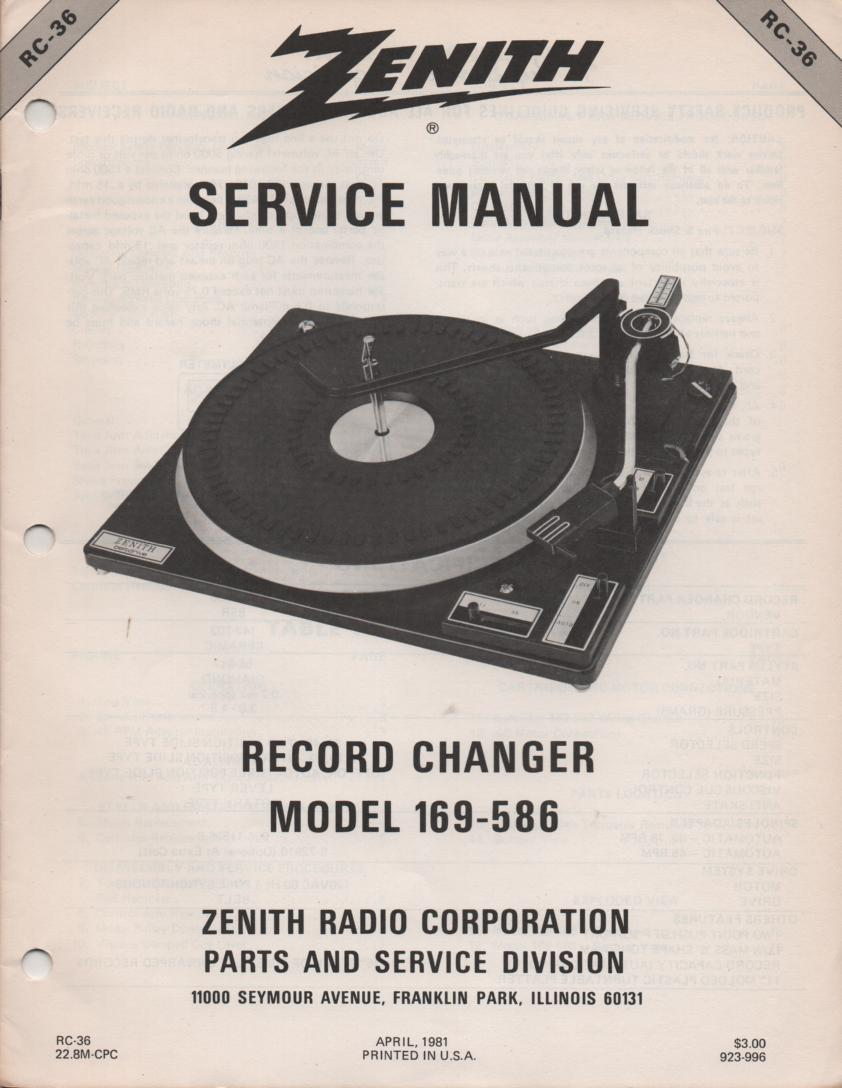 169-586 Turntable Service Manual RC-36  Zenith