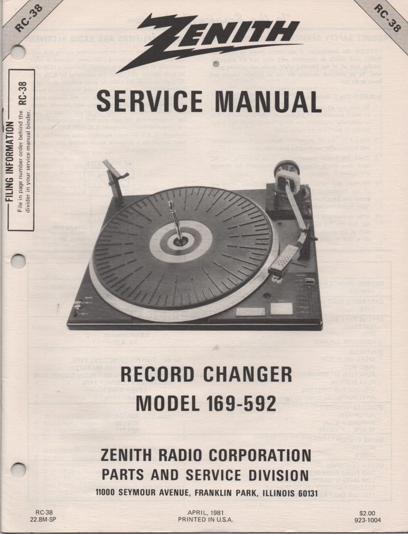 169-592 Turntable Service Manual RC-38  Zenith