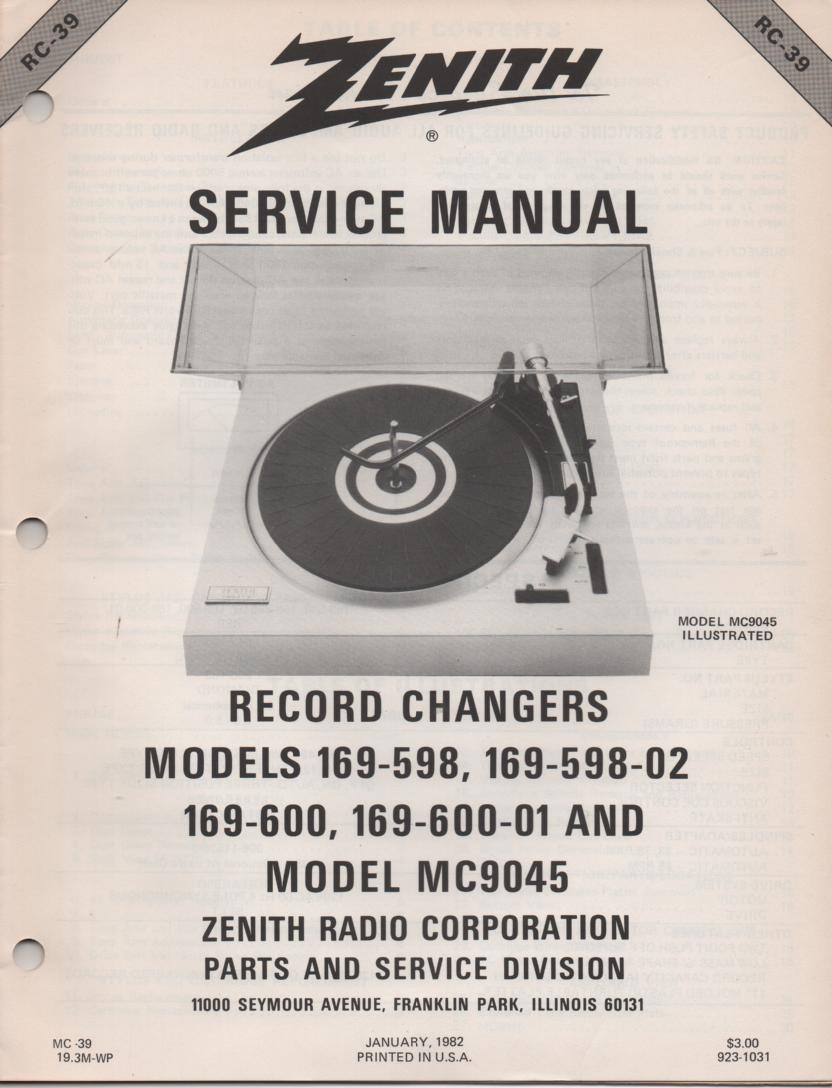 169-598 169-598-02 Turntable Service Manual RC-39  Zenith
