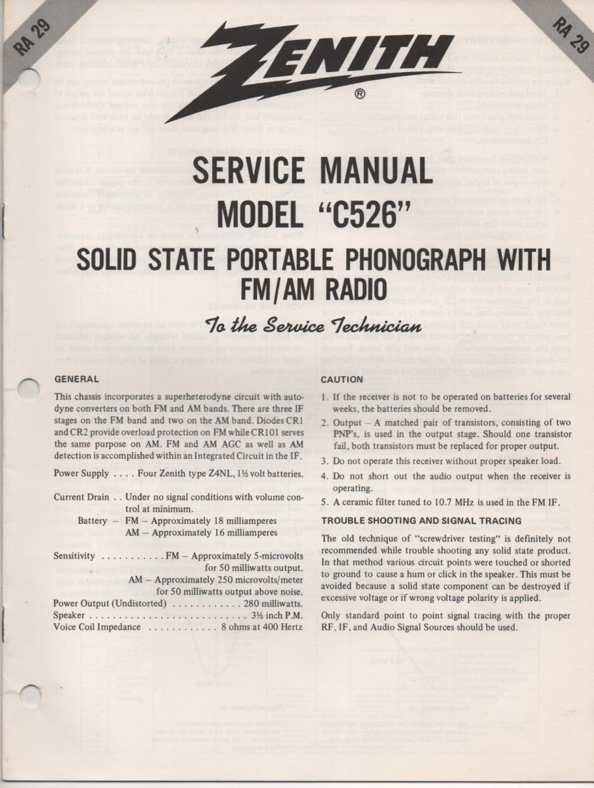 C526 Turntable Service Manual RA-29  Zenith