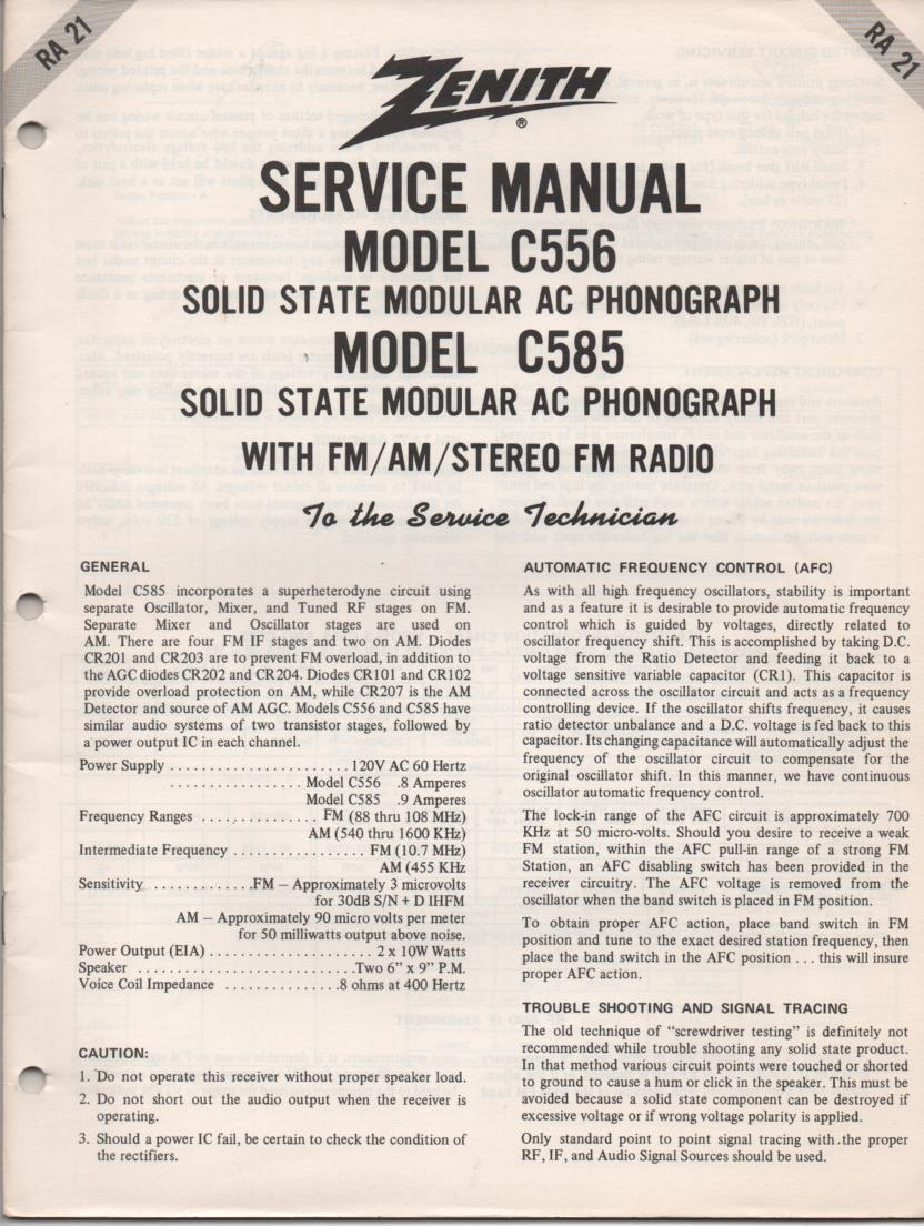 C585 Turntable Service Manual RA-21  Zenith